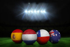Footballs in group b colours for world cup Royalty Free Stock Image