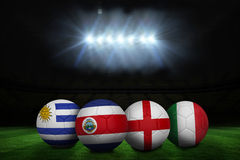 Footballs in group d colours for world cup Royalty Free Stock Photos
