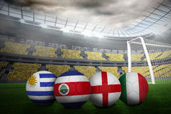 Footballs in group d colours for world cup Royalty Free Stock Image