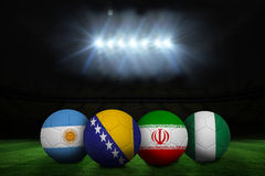Footballs in group f colours for world cup Royalty Free Stock Photos