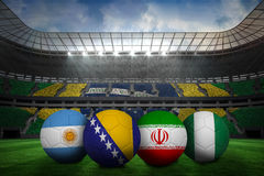 Footballs in group f colours for world cup Stock Images