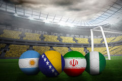 Footballs in group f colours for world cup Royalty Free Stock Images