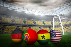 Footballs in group g colours for world cup Stock Image