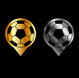 Footballs inside gold and silver placement. Football stadium symbol Royalty Free Stock Images