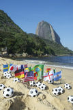 Footballs International Flags Rio de Janeiro Beach Stock Photo