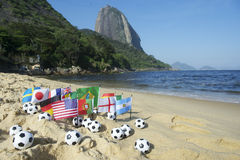 Footballs International Flags Rio de Janeiro Beach Royalty Free Stock Photography