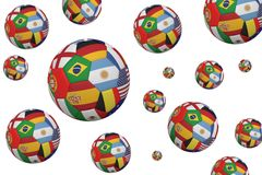 Footballs in international flags Royalty Free Stock Image