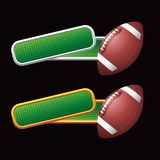 Footballs on tilted green checkered banners Stock Photo