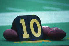 Footballs And Yard Marker Royalty Free Stock Images
