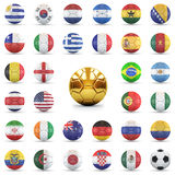 Footbalsl with flags Royalty Free Stock Photos