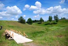 footbridge деревянный Стоковое Фото