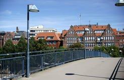 Footbridge над рекой Weser стоковая фотография rf