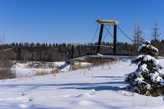 Footbridge Эдмонтона форта - ландшафт зимы стоковое фото