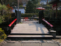 Footbridge. A footbridge at the entrance of a traditional restaurant in Japan.The inscriptions are not advertise Stock Image