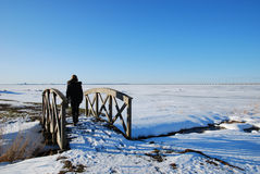 Footbridge. Woman walking over a footbridge and watching ice and a bridge in a nordic winter landscape Royalty Free Stock Images