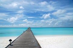 Footbridge. Over turquoise ocean on an maldivian island Stock Images