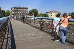 Footbridge above Wisla river, Krakow, Poland Stock Photos