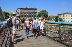 Footbridge above Wisla river, Krakow, Poland Stock Photography
