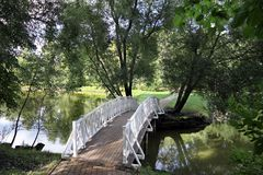 Footbridge across the pond Stock Image
