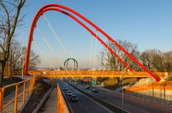 Footbridge across the road in Bydgoszcz, Poland. Stock Photo
