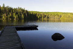Footbridge on Alphonse Lake in La Mauricie National Park Stock Photos