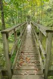 Footbridge on the Appalachian Trail. A wooden footbridge over Dismal Creek for hikers on the Appalachian Trail located in Giles County in Southwest Virginia royalty free stock images