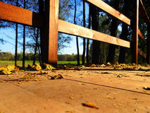 Footbridge in the autumn park Royalty Free Stock Photography