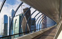 Footbridge Bagration at the Moscow City Business Centre Royalty Free Stock Photo