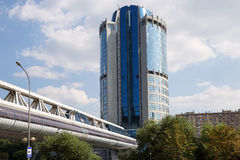 Footbridge Bagration at the Moscow City Business Centre Stock Photo