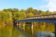 Footbridge bridge to the Theodore Roosevelt Island in Washington DC, USA. Royalty Free Stock Image