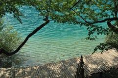 Footbridge and bridges in Plitvice Lakes National Park in Croatia. Family. Royalty Free Stock Photos
