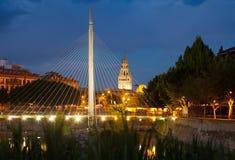 Footbridge called Pasarela del Malecon over Segura in night. Mur Royalty Free Stock Photography