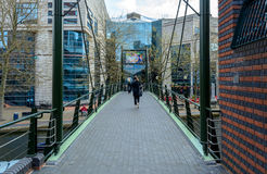 Footbridge on Canalside Walk Birmingham Stock Images