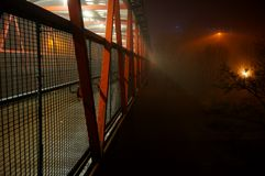 Footbridge in fog C Stock Photos