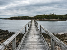 Footbridge at Frazer`s Point, Winter Harbor, Maine Royalty Free Stock Photo