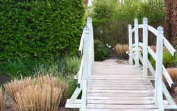 Footbridge in garden Royalty Free Stock Images