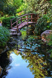 Footbridge in the Garden. A beautiful scene of peace and tranquility comprised of a wooden footbridge leading over a still, serene pond. Zilker Botanical Gardens Stock Photography