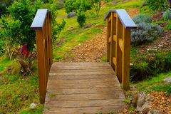 Footbridge in a Garden Stock Photography