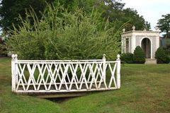 Footbridge and gazebo Royalty Free Stock Images