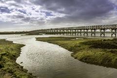 Footbridge heading to Quinta do Lago beach, in Ria Formosa. Algarve Royalty Free Stock Image