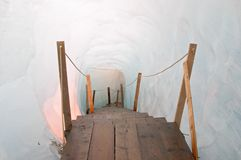 Footbridge inside the ice cave (Eisgrotte am Rhonegletscher) Stock Images
