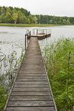 Footbridge on the Istra water reservoir Royalty Free Stock Images