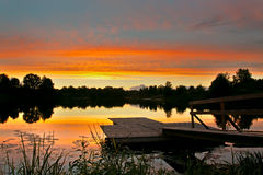 footbridge jezioro Obraz Royalty Free