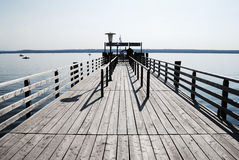 Footbridge at lake Stock Image