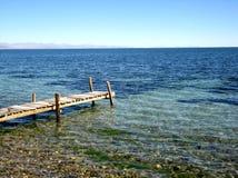 Footbridge at lake Stock Photo