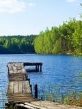 Footbridge on the lake Stock Photos