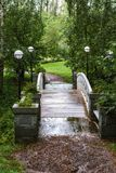 Footbridge with lanterns. stock image