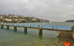 Footbridge. Of le conquet in brittany in france,used to cross the bay to go to the kermorvan pointe Stock Photo