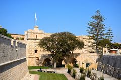 Footbridge and town gate, Mdina. Stock Images