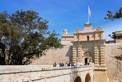Footbridge leading to town gate, Mdina. Royalty Free Stock Image